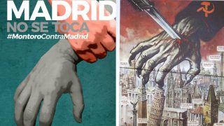 El cartel que difunde Ahora Madrid y la propaganda que usaban los nazis contra el avance del ejército soviético por Europa
