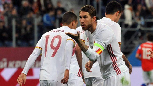 Ramos, celebrando uno de sus goles ante Rusia (AFP).