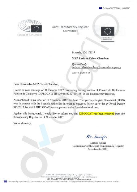 Comunicación oficial de la UE anunciando la expulsión de Diplocat del Registro de Transparencia