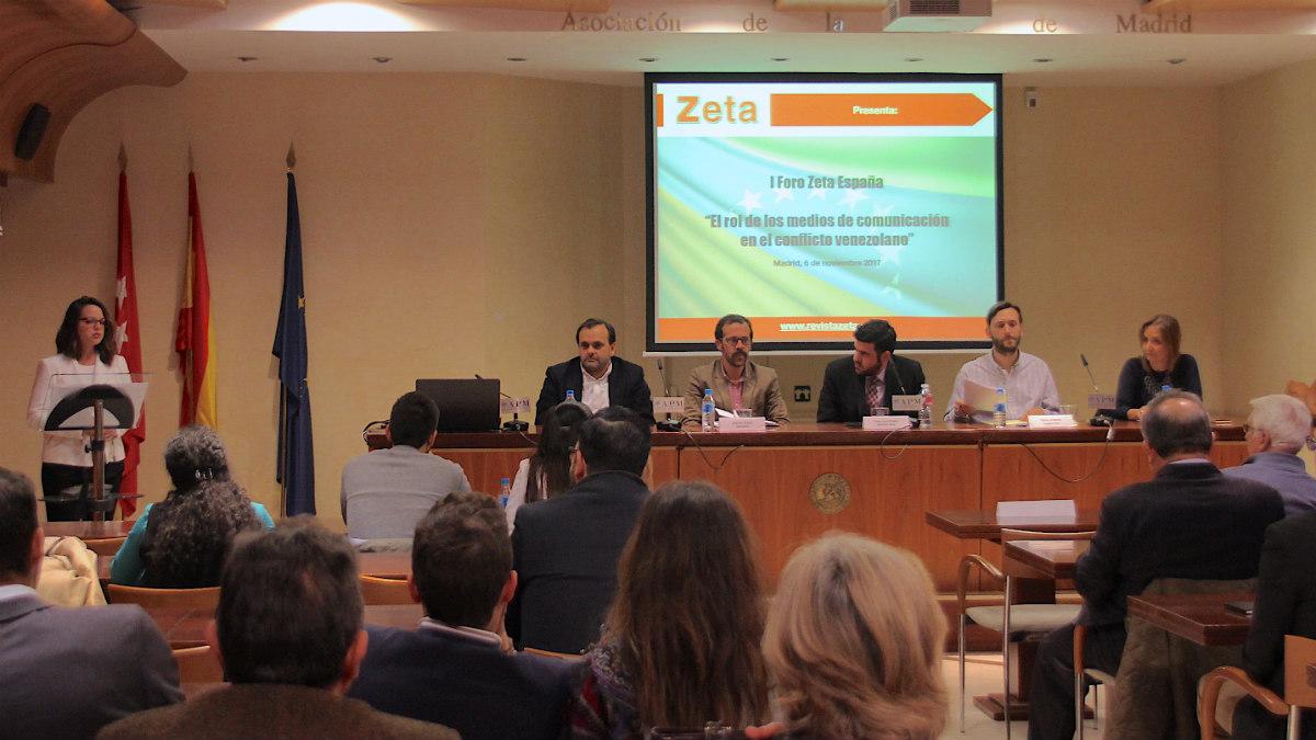 Lorena Arraiz, Manuel Trillo, Alberto D. Prieto, Francisco Poleo, Pedro Jiménez y Marha Blanco, en el I Foro Zeta España, en la APM.