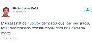 """El tuit en el que el profesor de Derecho Constitucional, Héctor López Bofill, en el que afirmaba que """"toda transformación constitucional profunda exige muertes"""""""