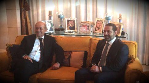 El ministro francés Jean-Yves Le Drian y el primer ministro libanés, Saad Hariri.