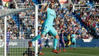 Luis Suárez celebra su primer tanto ante el Leganés. (AFP)