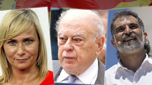La periodista Mónica Terribas, el ex presidente Jordi Pujol Soley y el presidente de Òmnium, Jordi Cuixart (hoy en prisión).