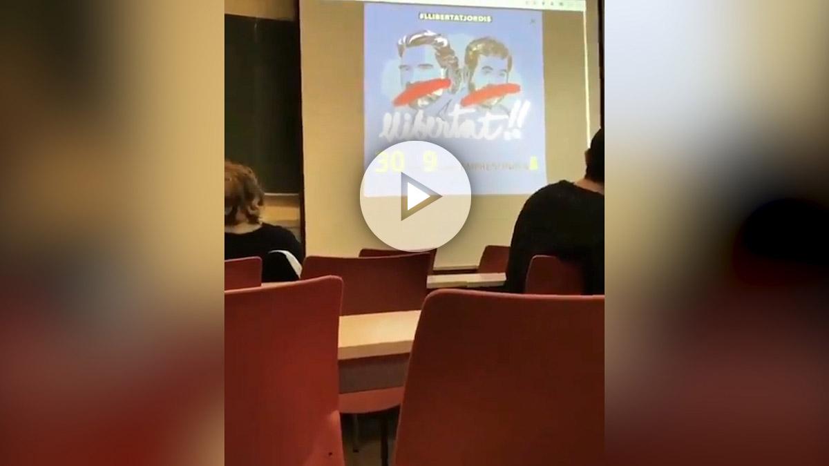 Profesor universitario pidiendo libertad la libertad de 'los jordis'