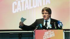 Carles Puigdemont en la presentación de Junts per Catalunya en Brujas. Foto: AFP