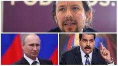 Pablo Iglesias, Vladimir Putin y Nicolás Maduro