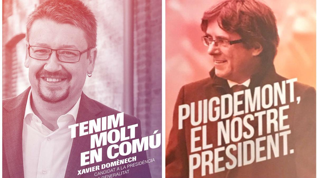 Los podemitas acusan a Puigdemont de copiarles el cartel para el 21-D