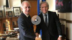 El alcalde metropolitano de Caracas, Antonio Ledezma, junto al secretario general de la OEA, Luis Almagro, en Washington. (OKD)