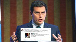 """Albert Rivera y su tuit sobre los Pujol y el """"robo de 2.500 millones""""."""