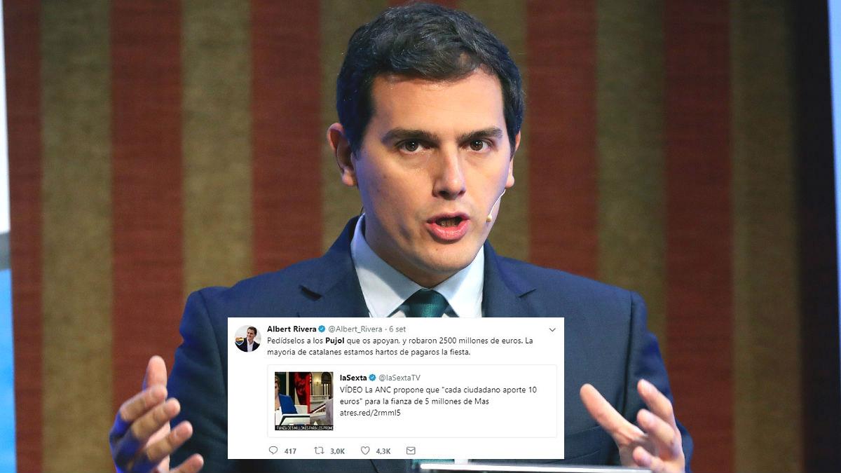 Albert Rivera y su tuit sobre los Pujol y el «robo de 2.500 millones».