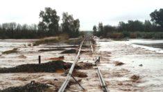 Aspecto de la vía del tren siniestrado en la línea Málaga-Sevilla.