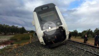 El tren que cubría la línea Málaga-Sevilla descarrilado a la altura de Arahal.