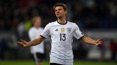 Thomas Müller, en un partido con la selección alemana.