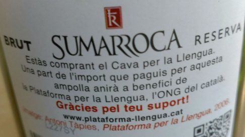 Botella del cava independentista Sumarroca