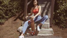 Nike Cortez en la campaña con Bella Hadid (Foto. Nike)