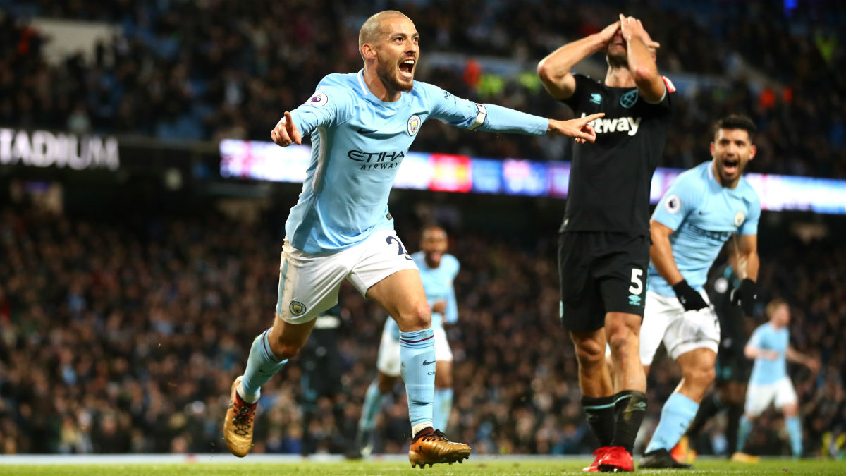 David Silva celebra su gol ante el West Ham. (Getty)