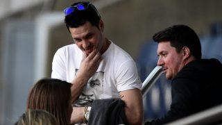 Matías Messi y su hermano Rodrigo, en un entrenamiento del Barcelona. (AFP)