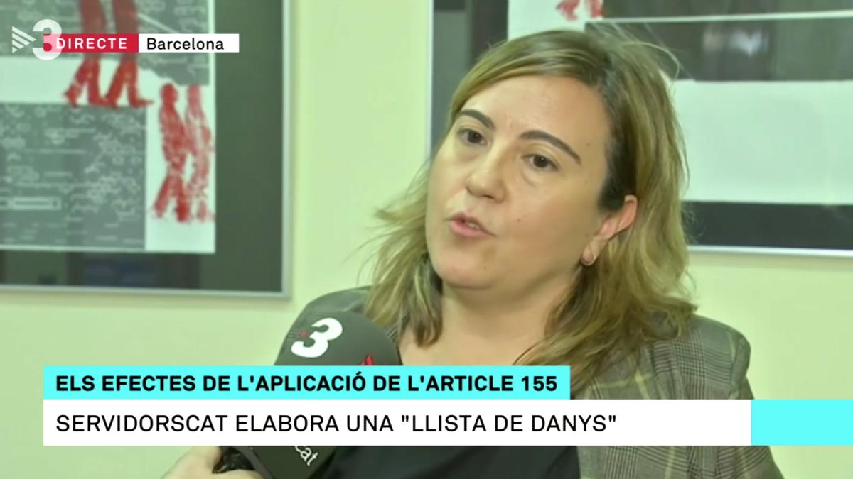 La presidenta de ServidorsCAT, Yolanda Hernández, en una entrevista concedida a TV3.