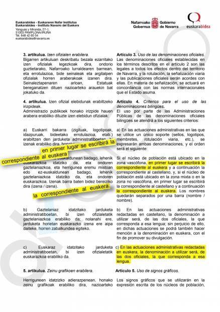 El Decreto de toponimia de Navarra establece la prevalencia del nombre de pueblos y ciudades en euskera
