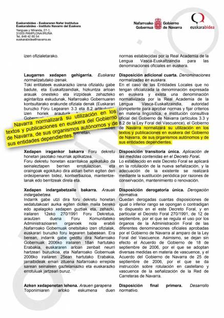 El Gobierno de Navarra y Euskaltzaindia normalizarán la utilización del euskera