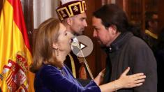 Pablo Iglesias en el homenaje a la Constitución en el Congreso. (Foto: EFE)
