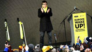 Carles Puigdemont en el acto de Bruselas. (Foto: AFP).