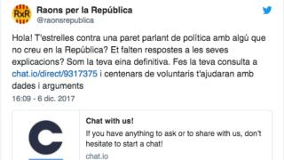 El chat Raons per la República ofrece argumentos a los independentistas para defender sus tesis.