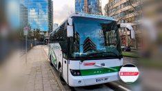 Autobús de la Generalitat de Cataluña  en la manifestación independentista de Bruselas