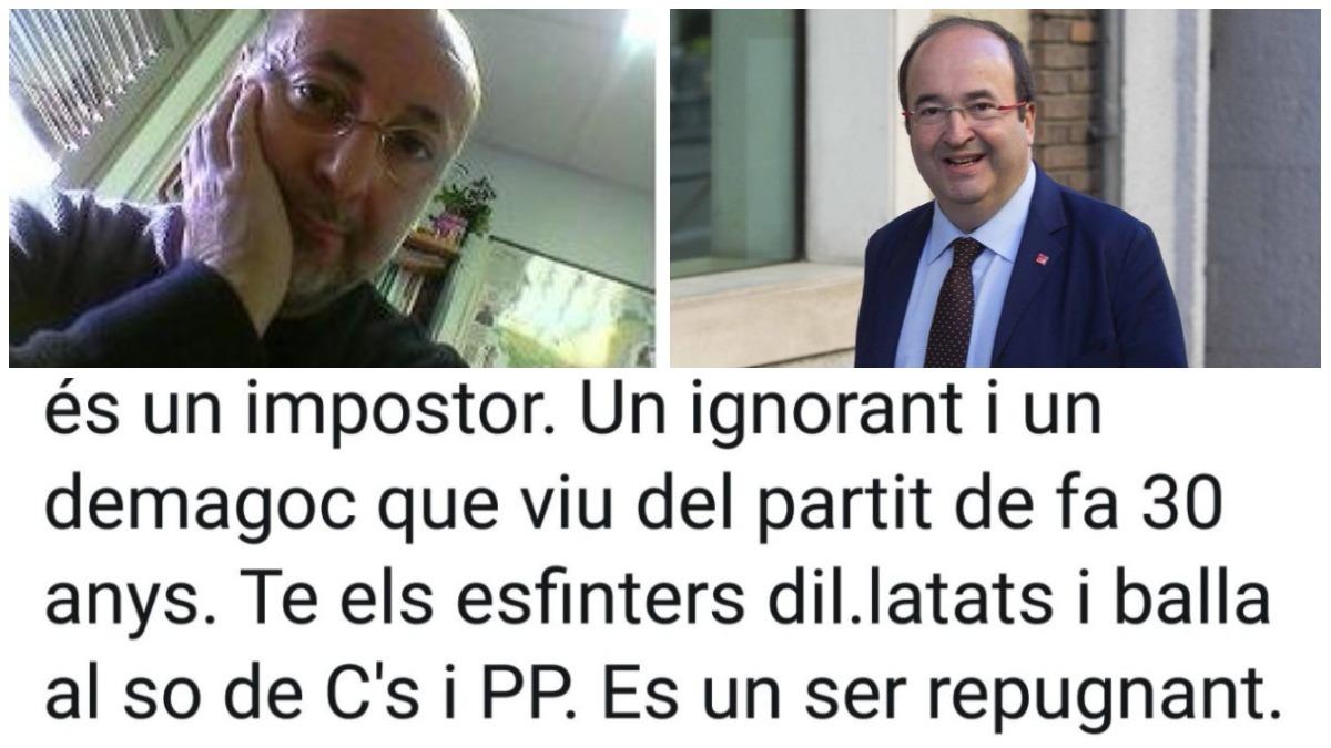 Tuit de Jordi H. Borrell insultando a Miquel Iceta (PSC) por su condición homosexual.