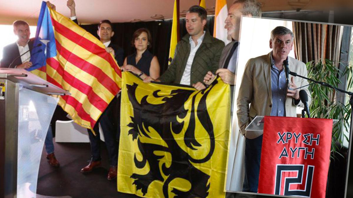 Filip Dewinter (del partido flamenco Vlaams Belang) en un acto de apoyo a la independencia de Cataluña y en un acto organizado por Amanecer Dorado.