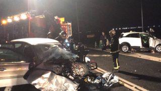 Imagen del accidente en el que murieron dos hombres en Madrid.