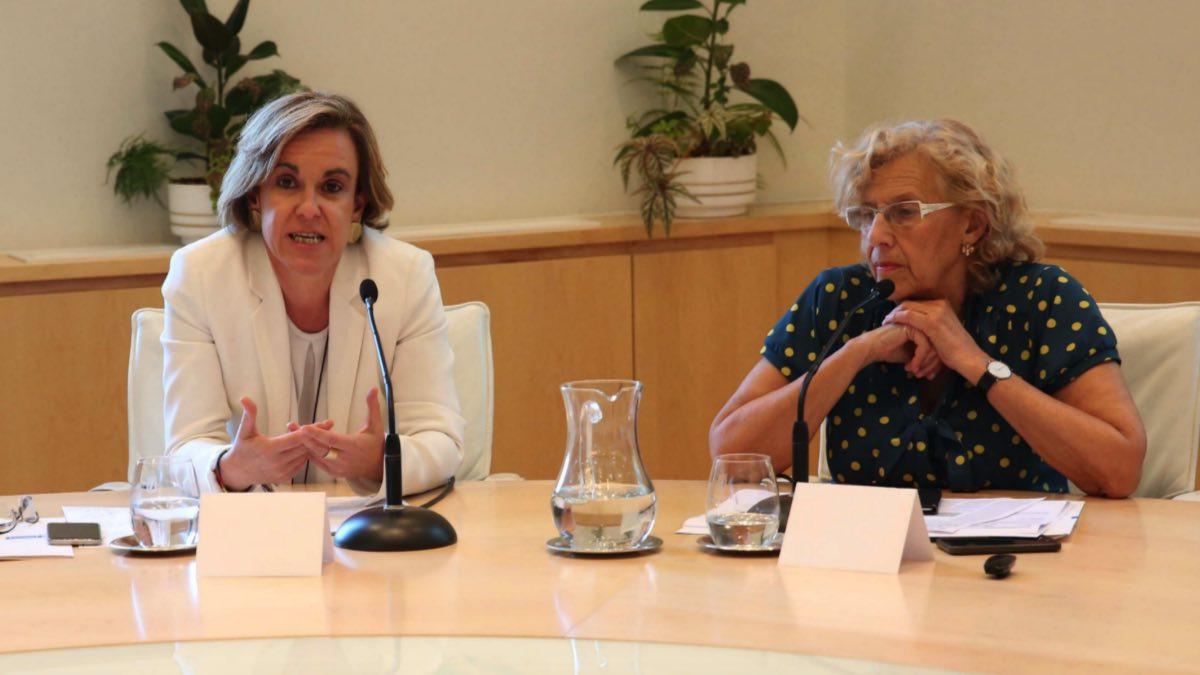 Puri Causapié (PSOE) y Manuela Carmena (Ahora Madrid). (Foto: Madrid)