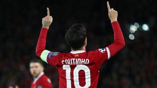 Coutinho, celebrando un gol en un partido de Champions (Getty).