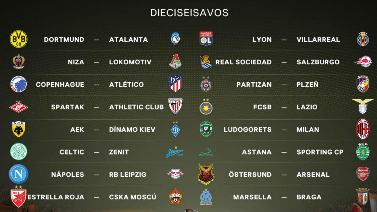 Todos los emparejamientos de los dieciseisavos de final de la Europa League. (uefa.com)