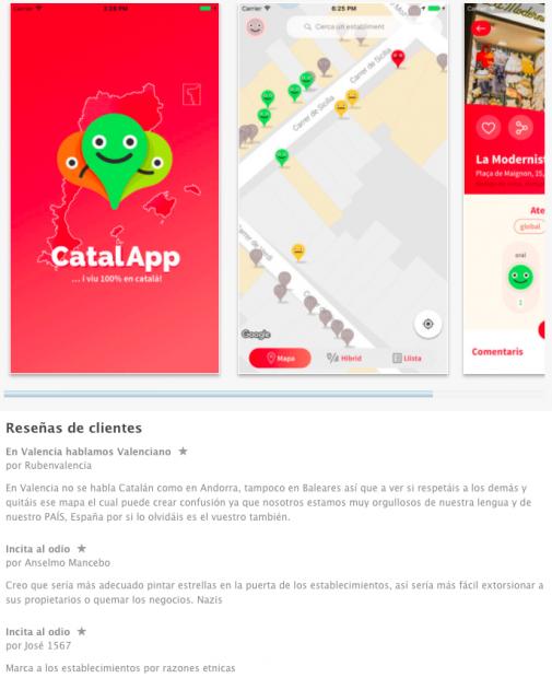 Críticas a la app que persigue imponer el catalán y discriminar el español en la web de descargas de apple