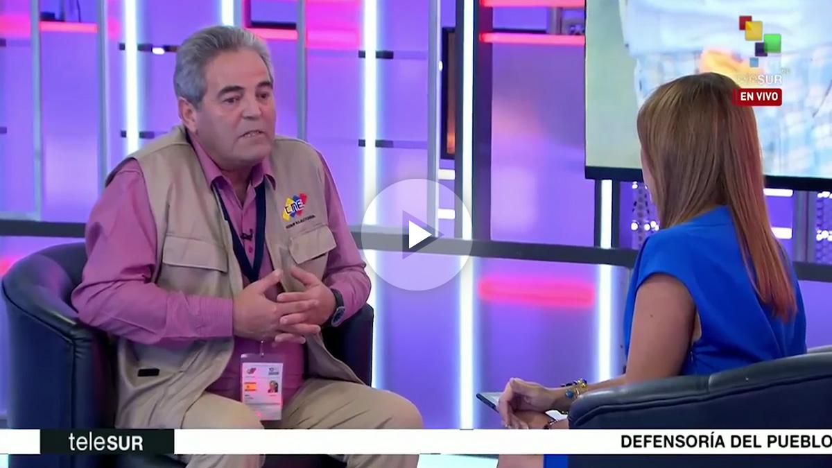 Juan Gil en la entrevista de Telesur