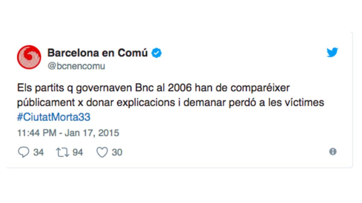 'Tuit' de Barcelona En Comú.