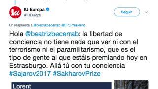 """Tuit de la cuenta de IU calificando de """"terrorista"""" a la oposición venezolana premiada con el Sájarov por la Eurocámara."""
