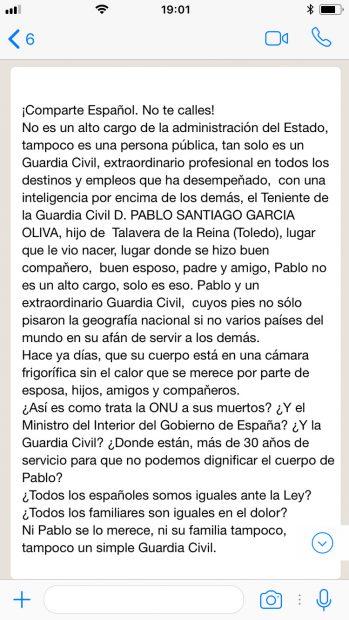 Whatsapp del malestar dea Guardia Civil por la lenta repatriación del fallecido en Haití: 10 días en una morgue