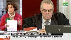 """Rótulo de Canal  Sur que llama """"juicio político"""" al caso ERE."""