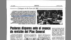 Recorte del ABC del lunes 24 de mayo de 1982 en el que Leira y Bardají comparten debate.