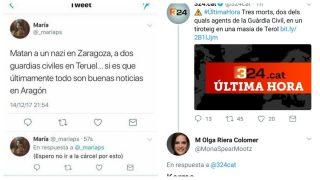 Miserables tuits tras el asesinato de dos guardias civiles en Teruel.