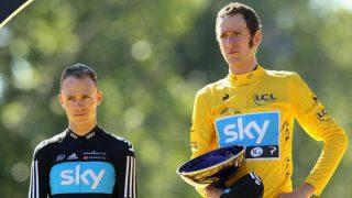 Froome, en el podio del Tour de Francia de 2012, junto a Bradley Wiggins. (Getty)