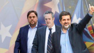 Oriol Junqueras, Joaquim Forn y Jordi Sànchez, hoy en la cárcel imputados por rebelión, sedición y malversación.