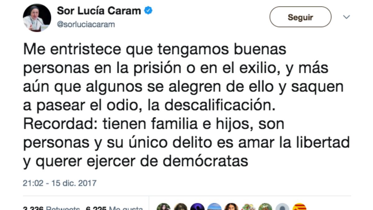 Mensaje publicado en Twitter por la monta argentina independentista Sor Lucía Caram.
