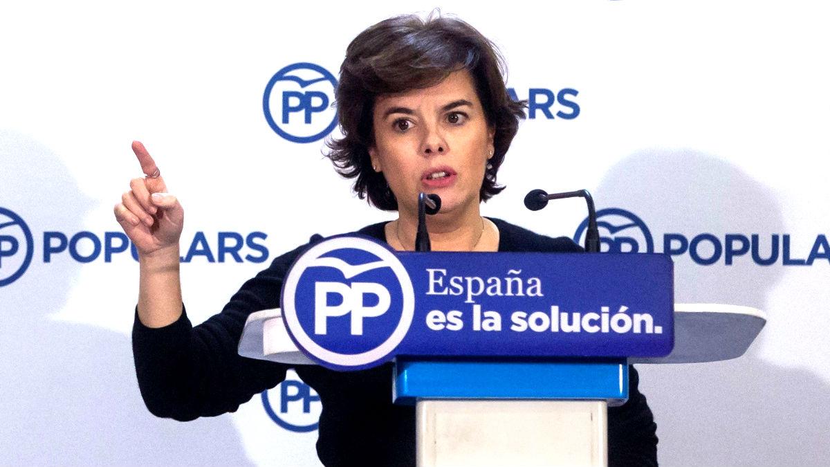 Soraya Sáenz de Santamaría en un acto este sábado en Cataluña (Foto: Efe).