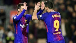 Messi  y Luis Suárez crearon el primer tanto del Barcelona. (AFP)