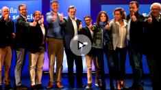Dirigentes del PP, con Rajoy a la cabeza, en el acto de campaña de este domingo en Salou (Foto: Efe).