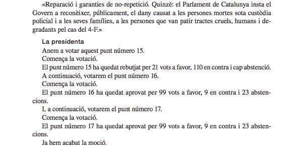 Podemos votó en el Parlament tratar como